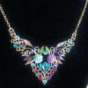 Betsey Johnson Floral Necklace Rhinestone 22 Inch